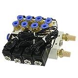 4V110-06 CA 220V Cuádruple válvula solenoide de Mofles 6mm rápida Herrajes Base Set