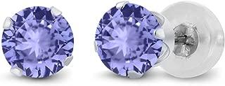 Gem Stone King 14K White Gold Tanzanite Stud Earrings 0.80 cttw Gemstone Birthstone Round Cut 4.5MM