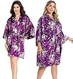EPLAZA Women Floral Satin Robe Bridal Dressing Gown Wedding Bride Bridesmaid Kimono Sleepwear (Deep purple, Small-Medium)