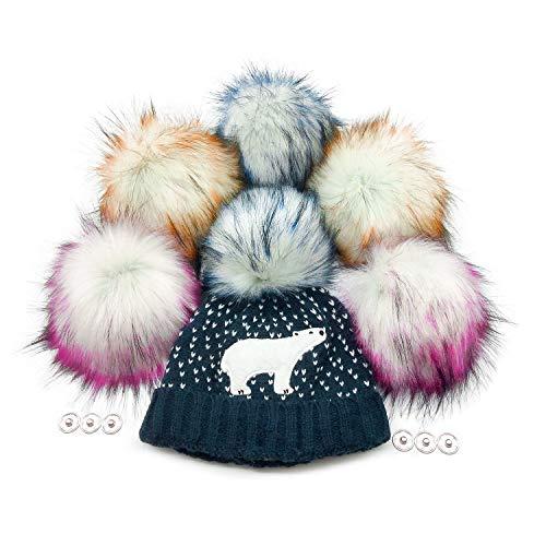 Furryvalley Pompon de pelo sintético con botón de presión 6 pelotas para gorro de punto zapatos bufandas extraíbles ganchillo decoración accesorios 16cm extra grande (3 colores)