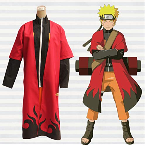 BELUNOT Anime Naruto Shippuden Cape Cosplay Costume Uzumaki Unisex Sage Red Cloak Long Robe Size S M L XL XXL M
