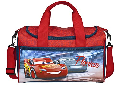 kleine Sporttasche mit Namen | Motiv Cars in dunkelblau & rot | Personalisieren & Bedrucken | Reisetasche Umhänge-Tasche für Kinder inkl. Namensdruck