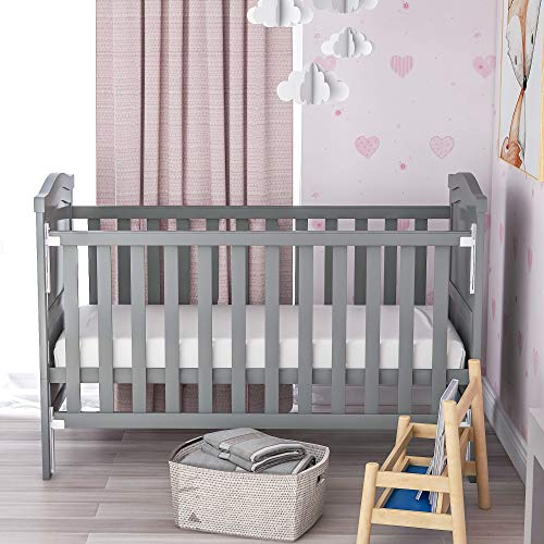 GoodFaith Solid Wood Baby Cot Bed Toddler Bed with Foam Mattres, Converts into a Junior Bed, Single-Handed Dropside Mechanism, 3 Adjustable Position