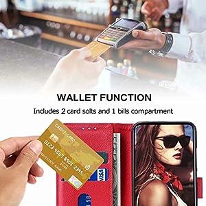 FMPCUON Funda para Xiaomi Mi 10,Flip Case Magnético Funda de Cuero PU Premium Folio Carcasa móviles Caso Libro para Mi 10 (Rojo)