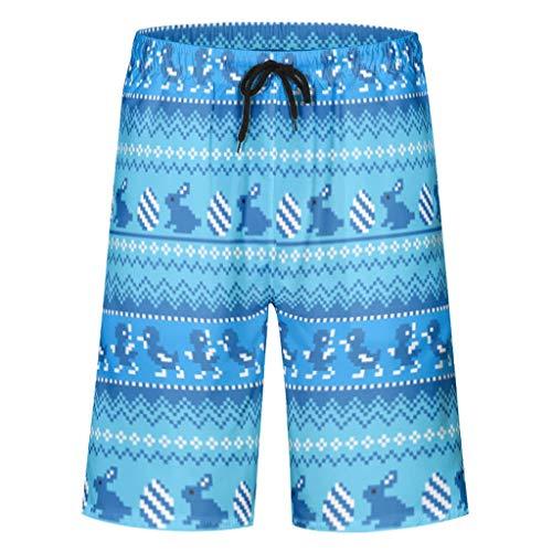 Ballbollbll Pantalones cortos para hombre con diseño de conejo de Pascua con bolsillos con cremallera, para gimnasio, casual, verano, playa, transpirables, con forro de malla
