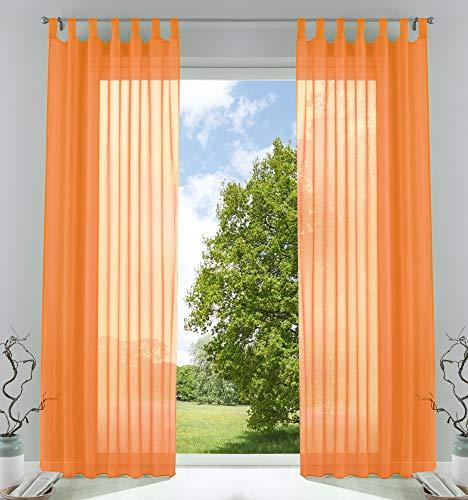 2er-Pack Gardinen Transparent Vorhang Set Wohnzimmer Voile Schlaufenschal mit Bleibandabschluß HxB 245x140 cm Orange, 61000CN