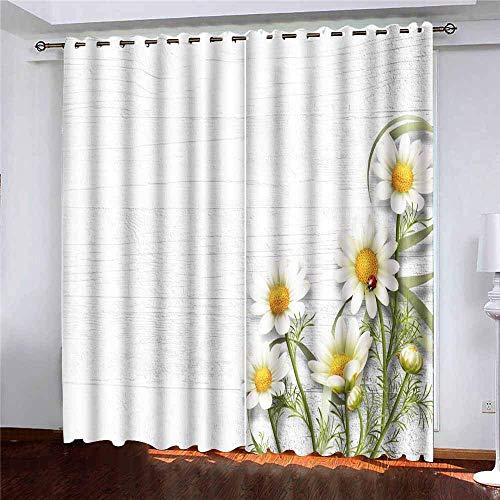 Barra de cortina para ventana de café, cortinas grandes para ventana, margaritas,...