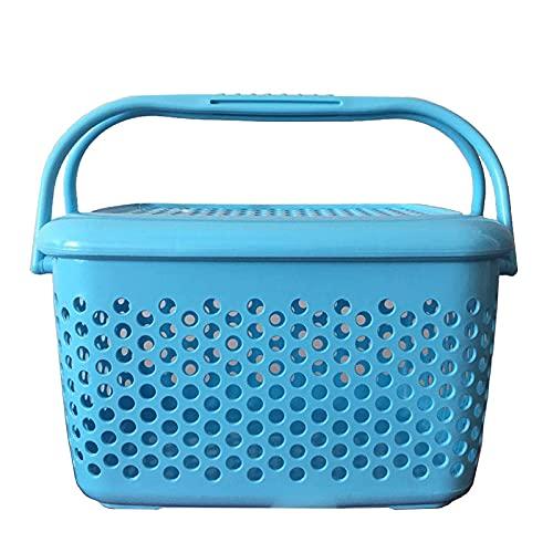 XKMY Cesta de la compra multiusos grande portátil cesta de plástico de almacenamiento de juguete Snacks sundries cesta de frutas para mascotas con tapa de compras 20 l (color azul)