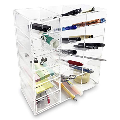 Ikee Design Acrylic 6-Shelf Office Desk Organizer, Caddy Organizer Racks for Office or Teacher Supplies, 9 1/2'W x 4 3/4'D x 10 1/8'H