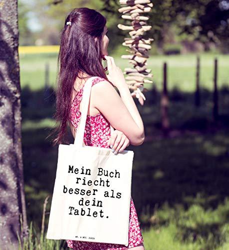"""Mr. & Mrs. Panda Tragetasche mit Spruch """"Mein Buch riecht besser als dein Tablet."""" - 7"""