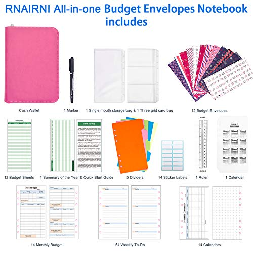 rnairni All-in-One Cash Envelopes Notebook - Finances Organizer Calendar Budget Planner Notebook with 2021 Weekly & Monthly Planner Refill & 12 Budget Envelopes & Budget Sheets (Light Pink) Photo #5
