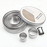 12 Pieces Round Cookie Biscuit Cutter Set,Graduated Circle Pastry Cutters,18/8 Stainless Steel Cookie Cutters And Donut Cutter Ring Molds