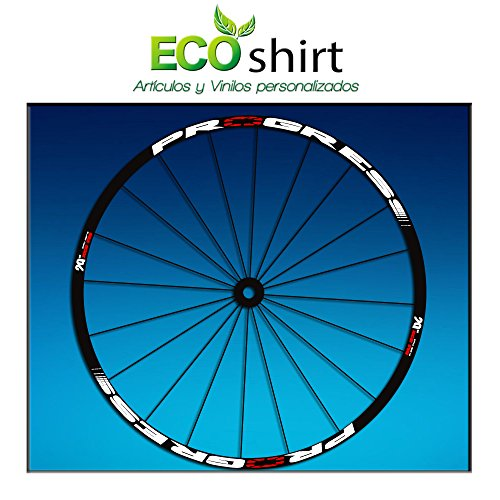 Ecoshirt GK-ULUH-V16I Pegatinas Stickers Llanta Rim Progress Xcd EVO Am44 MTB Downhill, Blanco 29'