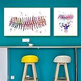 PLWCVERS Dientes Impresión de Acuarela Arte Dental Pintura en Lienzo Carteles de Dentista Dientes Humanos Anatomía Estomatología Clínica Decoración de la Pared Doctor / 40x50cm 50x70cm (Sin Marco)