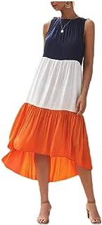 RkYAO Women Boho 3 Colors Sleeveless Casual Midi Splice Sundress