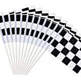 Novelty Place 8'x5.5' Checkered Black and White Racing Stick Flag - Plastic Stick - Decorations for Racing, Race Car Party, Sport Events (12 Pack)