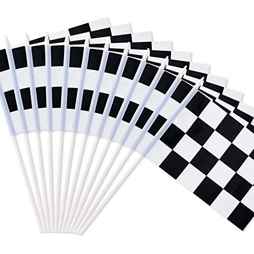 Bandera de carreras de color blanco y negro de cuadros de 20 x 14 cm – palo de plástico – Decoraciones para carreras, carreras de coche, fiestas, eventos deportivos (12 unidades)