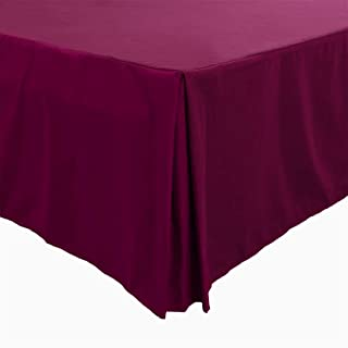 PiccoCasa Pleated Bed Skirt Classic Tailored Styling Dust Ruffled Hotel Quality, 14 Inch - Full Burgundy