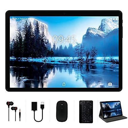 Tablet 10 Pulgadas 4GB RAM 64GB ROM con Doble SIM LTE y Wi-Fi, HD Android 10 Original YESTEL Tablet con Teclado y Ratón, Ampliables hasta 128GB/8000mAh Batería/5MP + 8MP/GPS, Color Negro