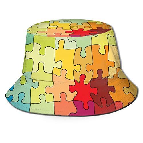 Sombrero de cubo de poliéster,Colorido Oriente Medio Oriente con Elementos Geométricos Florales,Gorra plegable Viaje Beach Sun Hat