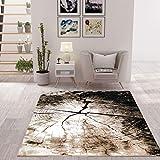 VIMODA Moderner Teppich Braun Beige Baumstumpf Holz Optik, Maße:120x170 cm