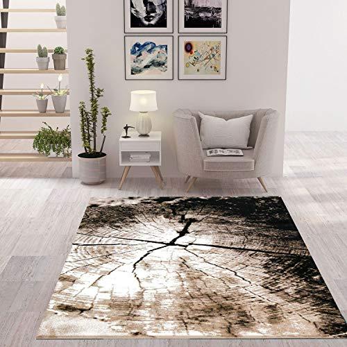 VIMODA Moderner Teppich Braun Beige Baumstumpf Holz Optik, Maße:160x230 cm