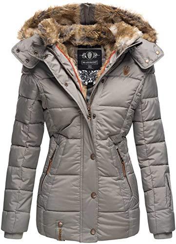 Marikoo warme Damen Winter Jacke Winterjacke Steppjacke gefüttert Kunstfell B658 [B658-Nek-Grau-Gr.XXL]