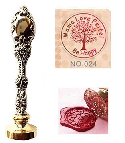 MNYR Vintage op maat gemaakte namen worden gelukkig boom van het leven decoratieve liefde hart cursieve monogram gepersonaliseerd ontwerp Logo Wax afdichting stempel smelten lepel stokken houten doos gift bruiloft uitnodigingen Set