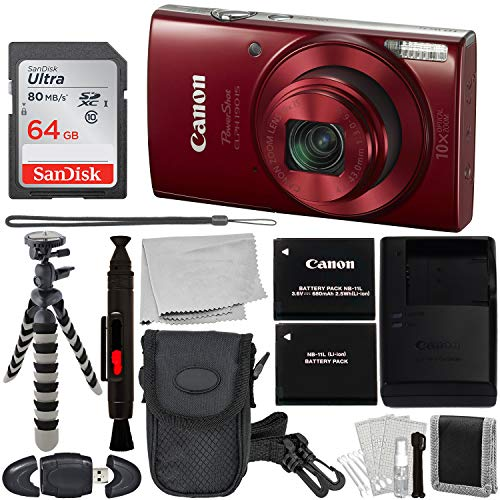 Canon PowerShot ELPH 190 is Digital Camera with Essential Accessory Bundle - Includes: SanDisk Ultra 64GB SDXC Memory Card + Extended Life NB-11L Replacement Battery + Carrying Case + More