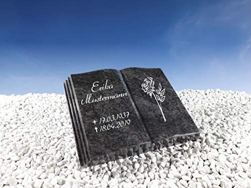 Grabstein Buch Bahama Blue 50x40x10 cm inklusive Gravur