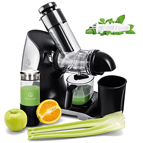*NEU* GREEN-PRESS KERAMIK MAX Horizontaler Slow Juicer mit Keramik Pressschnecke BPA-frei | Sellerie, Selleriesaft, Weizengras, Kräuter Grüne Detox Säfte | Allround Entsafter elektrisch (MAX (Silber))