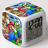 JGSDHIEU Enfants Réveil Mario LED Changement de Couleur Minions Horloge Numérique Batman Chevet Réveil Lumière Enfants Jouets Electronic Reveil