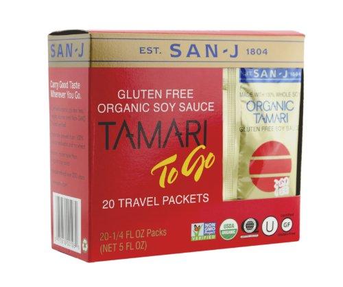 San J Organic Gluten-free Non-GMO Tamari Soy Sauce Travel Packs, 20 Count of 0.25 Fl Oz Packet Each, 5 Fl Oz