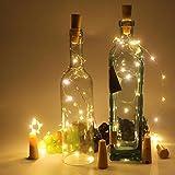 20 Stück Flaschenlicht Weinflaschen Lichter Kork Weihnachten Flasche Dekoration 200cm 20LEDs Lichterkette DIY Batteriebetrieben Stimmungslichter für Weihnachtsdeko Garten Party Schlafzimmer Tischdeko - 3