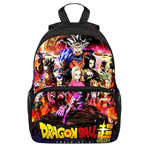 Mochila Dragon Ball, 3D Super Goku Anime Cosplay Mochila Infantiles Dragon Ball Mochila Escolar para Niño Niña Estudiante Bolso de Escuela Laptop Backpack Mochila para Portátil Viajes (34)