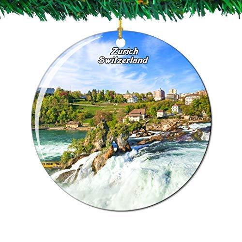 Kysd43Mill Rhine Falls Zurich Suiza Swiss Adornos de cerámica para árbol de Navidad Adornos de Recuerdo para Mujeres y niñas Amigas