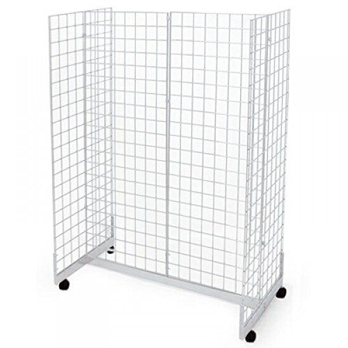 Only Garment Racks #1944W(1) + #1900W(4) + #1904W(9) 2'W x 6'H x 4'L Grid Panel Display Fixture with Gondola Base. White