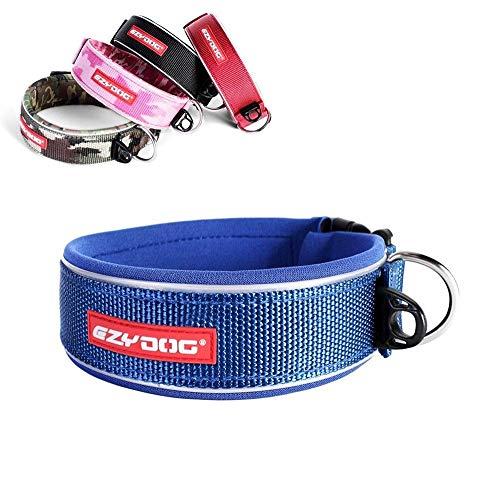 EzyDog Neo Wide - Halsband Hund breit, Hundehalsband für Große Hunde | Neopren gepolstert, reflektierend, wasserfest (2XL, Blau)
