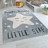Paco Home Alfombra Habitación Infantil Moderna Lavable Estrella Adorable Frase Gris Blanco, tamaño:80x150 cm