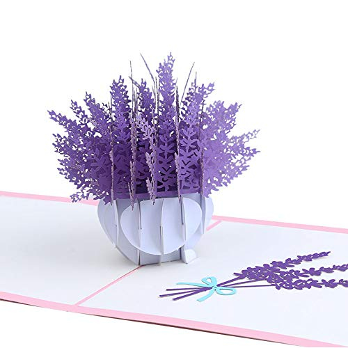 XJF Mothers Day Pop Up Card, 6'Lavender Bouquet Pop Up Card,Flower Card for Birthday,Anniversary,Gift to Mother,Grandma,Sister,Friends,Mother's Day Greeting Card for Mom