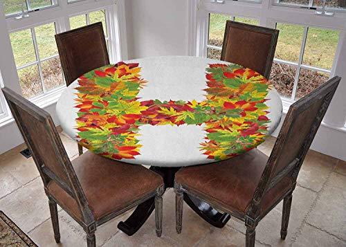 Ronde tafelkleed keuken decoratie, tafelblad met elastische randen, zomer Vibes Featured Schrijven Taal Eerste Naam Woorden Vrouwelijke Invloeden Ontwerp Multi kleuren, Kleurrijke tafelkleed
