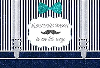 Yeele 5x3ft Little Man Baby Shower Backdrop Blue And White Stripes Mustache Gentleman Boy Photography Background Party Banner Decor Children Portrait Photo Booth Shooting Studio Props Wallpaper