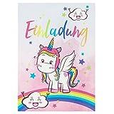 BEYMAX 10 süße Vintage Einhorn-Einladungskarten für den Kindergeburtstag mit Unicorn– mit Regenbogen, Wolken und Sternen in Pastell– Geburtstagskarten für Mädchen – ideal für die Einhornparty -