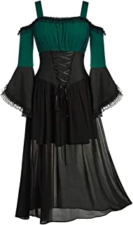 HebeTop Women Medieval Dress Renaissance Lace Up Vintage Gothic Dress Off Shoulder Cosplay Dresses