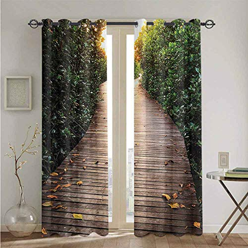 nooweihome Jungle Sliding Lock Ring Curtain Boardwalk in Mangrove Forest Sunlight Tunnel Sunset Autumn Golden Leaves TheBestChoiceforBedroomandLivingRoom W84 x L84 Brown Green Yellow