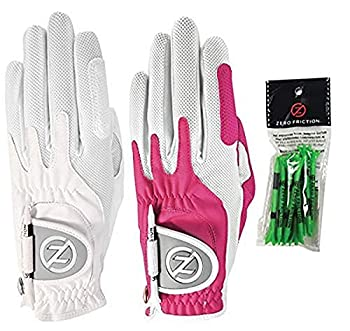 Zero Friction Ladies Compression-Fit Synthetic Golf Glove  2 Pack with Free Pack of tees  Universal Fit One Size White/Pink
