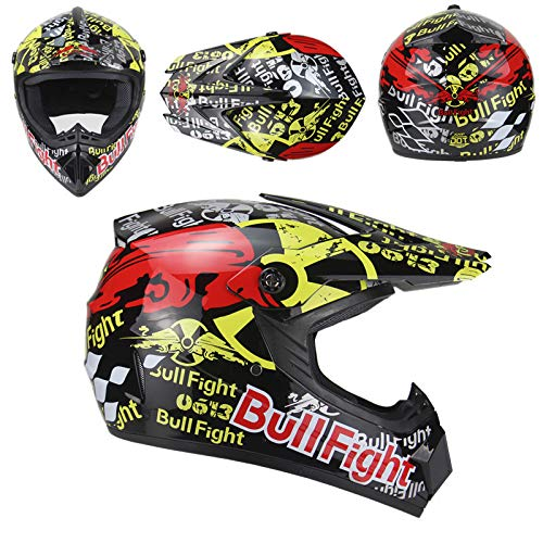 ZUCAI Casco de moto profesional, de cara completa, con máscara facial y guantes de gafas, equipo de protección para hombres y mujeres adultos, múltiples opciones de tamaño, L