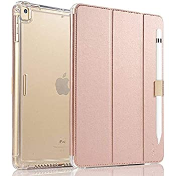 Valkit iPad 7th Generation Case iPad 10.2 Case 2019 - Translucent Frosted Back Protective Smart Cover with Auto Sleep/Wake for iPad 7th Gen 10.2 Inch 2019 (A2197 A2198 A2200), Rose Gold Pink