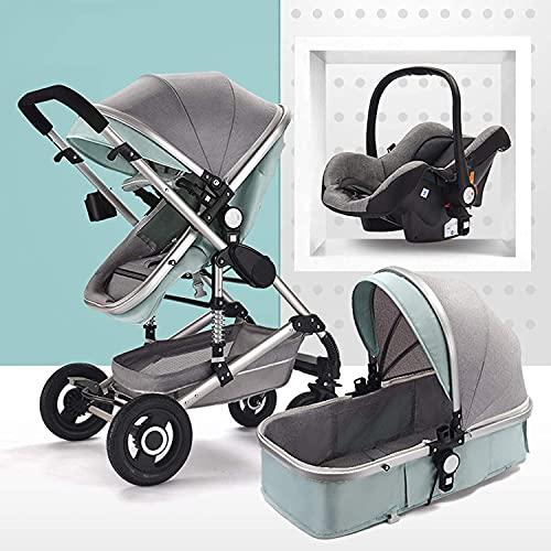 FXBFAG Cochecito de bebé 3 en 1 plegable de lujo Cochecito de bebé con muelles antigolpes, alta vista cochecito de bebé con cesta de bebé para recién nacido (color verde)