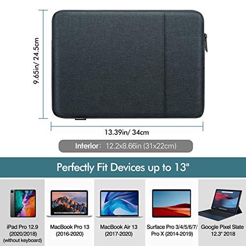 MoKo Sleeve Tasche Kompatibel mit MacBook Air Retina 13.3 2018, MacBook Air 13.3 2019/2020, iPad Pro 12.9 2018/2020, Polyesterfaser Laptophülle mit Reißverschluss und 2 Tasche Tablet Hülle, Space Grau